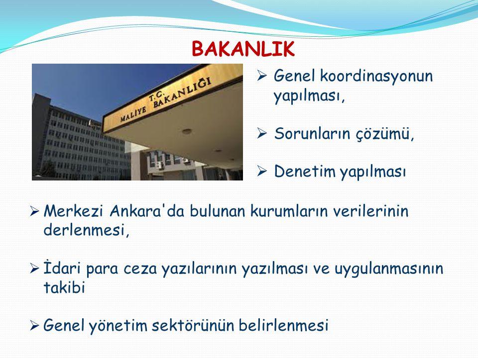 BAKANLIK  Merkezi Ankara'da bulunan kurumların verilerinin derlenmesi,  İdari para ceza yazılarının yazılması ve uygulanmasının takibi  Genel yönet