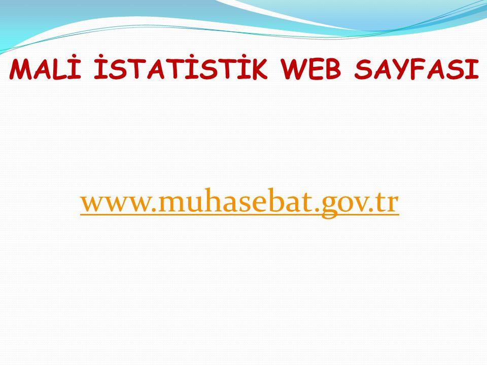 MALİ İSTATİSTİK WEB SAYFASI www.muhasebat.gov.tr