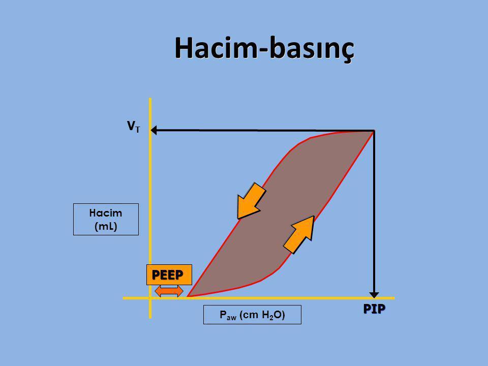 Hacim-basınç Hacim (mL) VTVT PIP P aw (cm H 2 O) PEEP