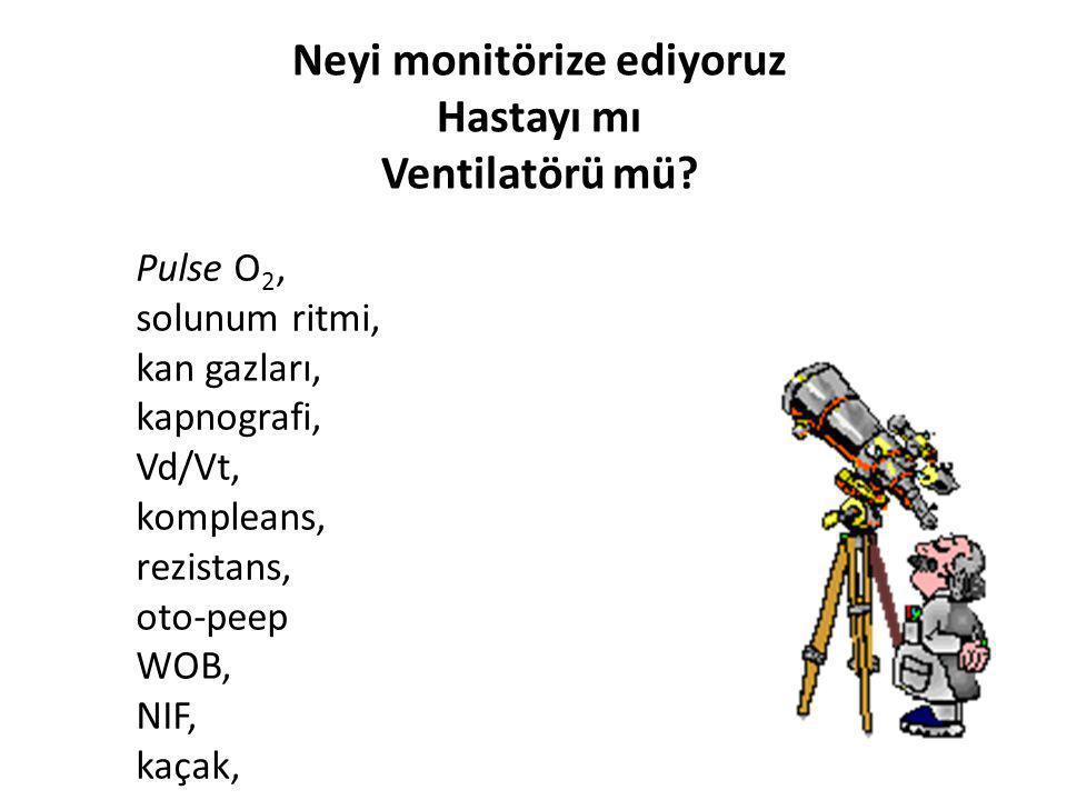 Neyi monitörize ediyoruz Hastayı mı Ventilatörü mü? Pulse O 2, solunum ritmi, kan gazları, kapnografi, Vd/Vt, kompleans, rezistans, oto-peep WOB, NIF,