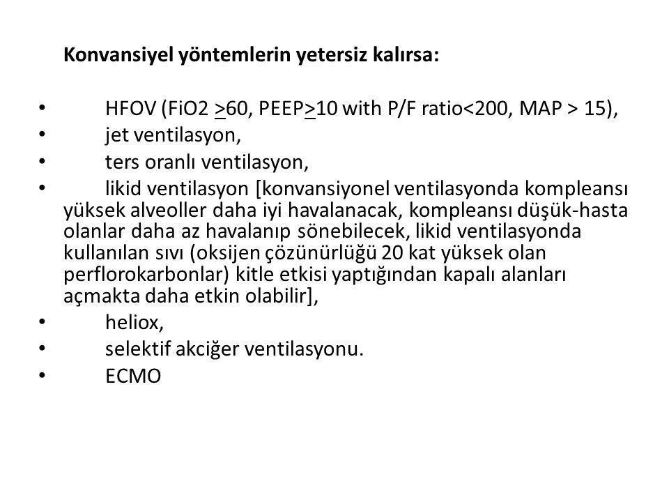 Konvansiyel yöntemlerin yetersiz kalırsa: HFOV (FiO2 >60, PEEP>10 with P/F ratio 15), jet ventilasyon, ters oranlı ventilasyon, likid ventilasyon [kon