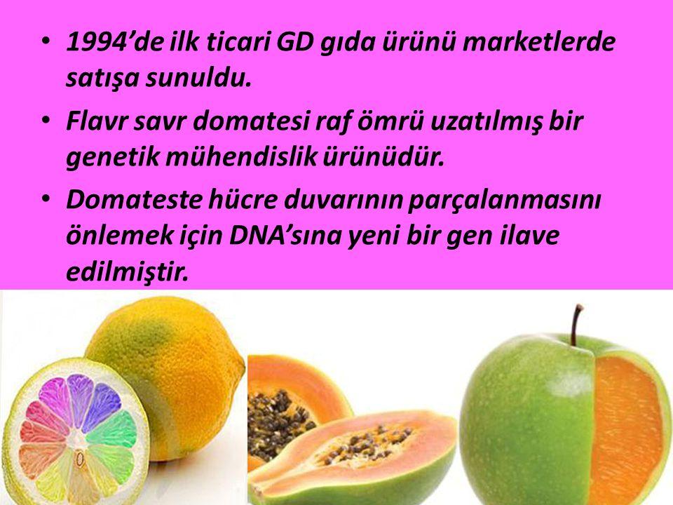 1994'de ilk ticari GD gıda ürünü marketlerde satışa sunuldu.