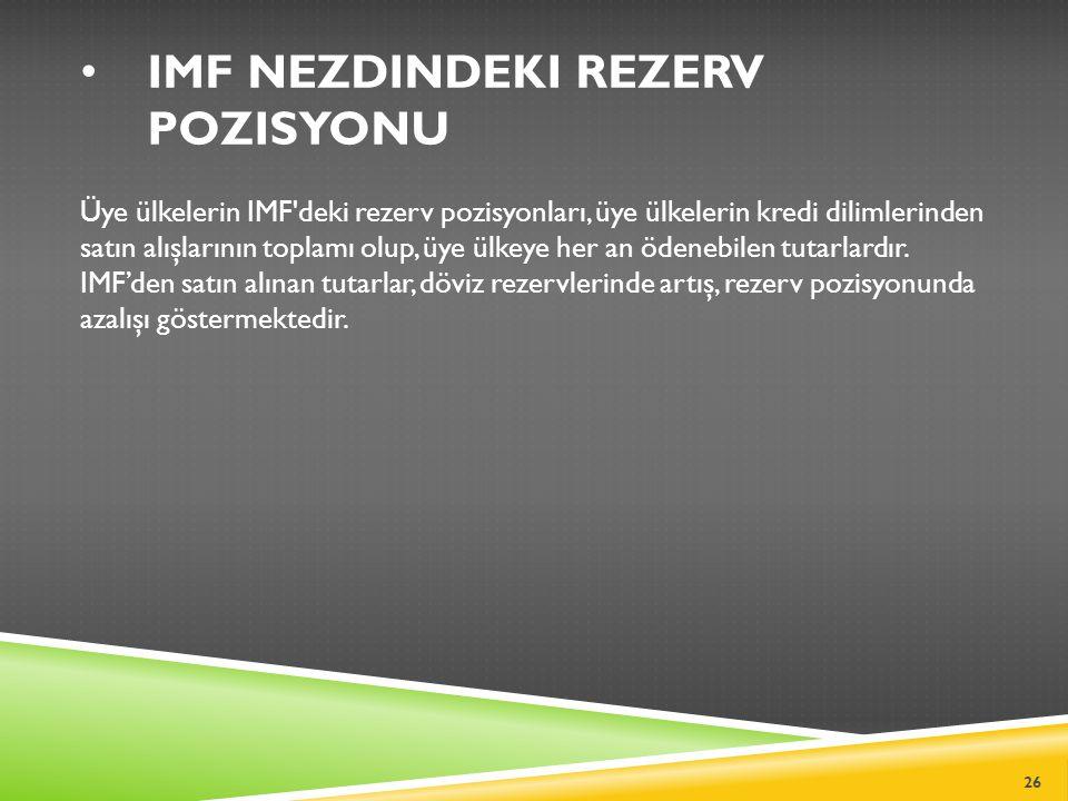 IMF NEZDINDEKI REZERV POZISYONU Üye ülkelerin IMF deki rezerv pozisyonları, üye ülkelerin kredi dilimlerinden satın alışlarının toplamı olup, üye ülkeye her an ödenebilen tutarlardır.