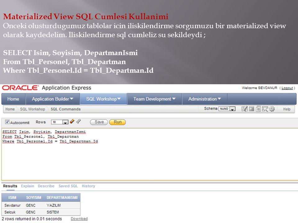 Materialized View SQL Cumlesi Kullanimi Onceki olusturdugumuz tablolar icin iliskilendirme sorgumuzu bir materialized view olarak kaydedelim. Iliskile