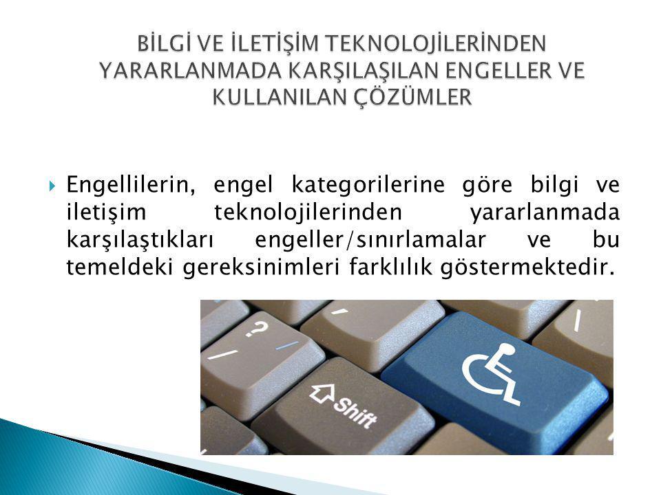 Engellilerin, engel kategorilerine göre bilgi ve iletişim teknolojilerinden yararlanmada karşılaştıkları engeller/sınırlamalar ve bu temeldeki gerek