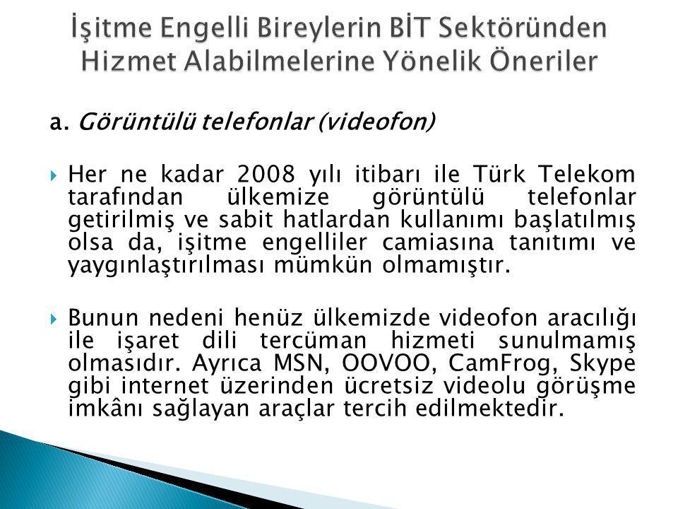 a. Görüntülü telefonlar (videofon)  Her ne kadar 2008 yılı itibarı ile Türk Telekom tarafından ülkemize görüntülü telefonlar getirilmiş ve sabit hatl