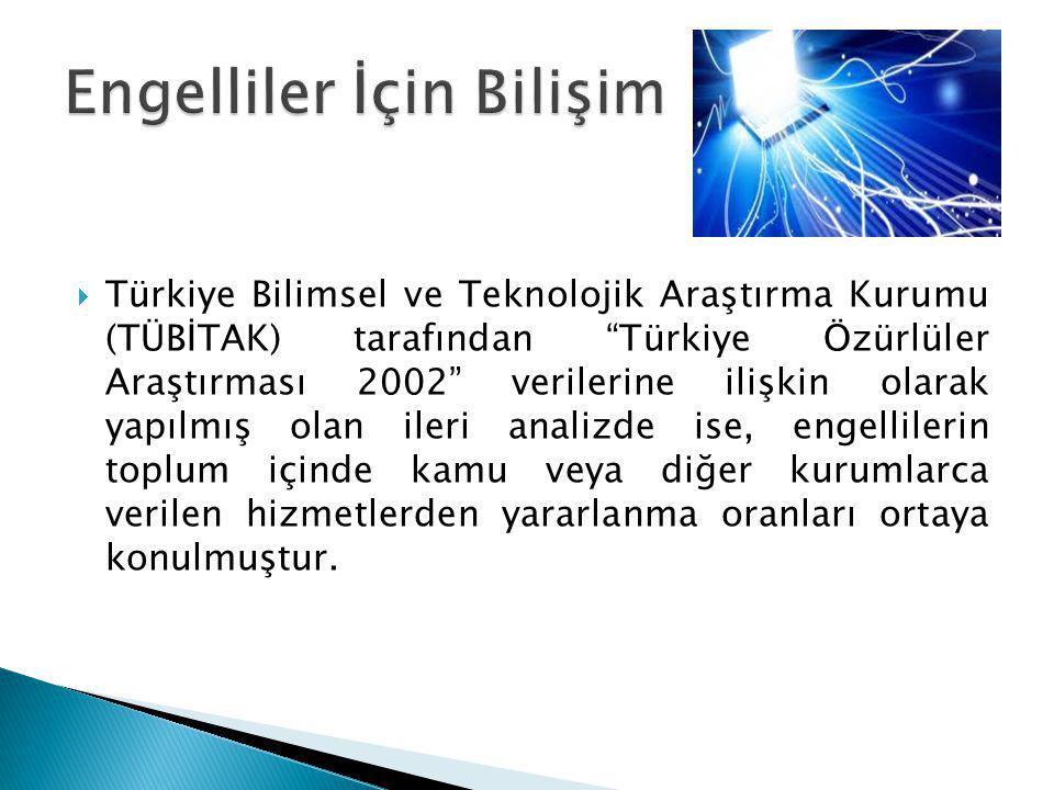 """ Türkiye Bilimsel ve Teknolojik Araştırma Kurumu (TÜBİTAK) tarafından """"Türkiye Özürlüler Araştırması 2002"""" verilerine ilişkin olarak yapılmış olan il"""