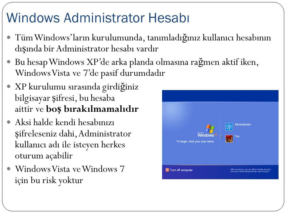 Tüm Windows'ların kurulumunda, tanımladı ğ ınız kullanıcı hesabının dı ş ında bir Administrator hesabı vardır Bu hesap Windows XP'de arka planda olmas