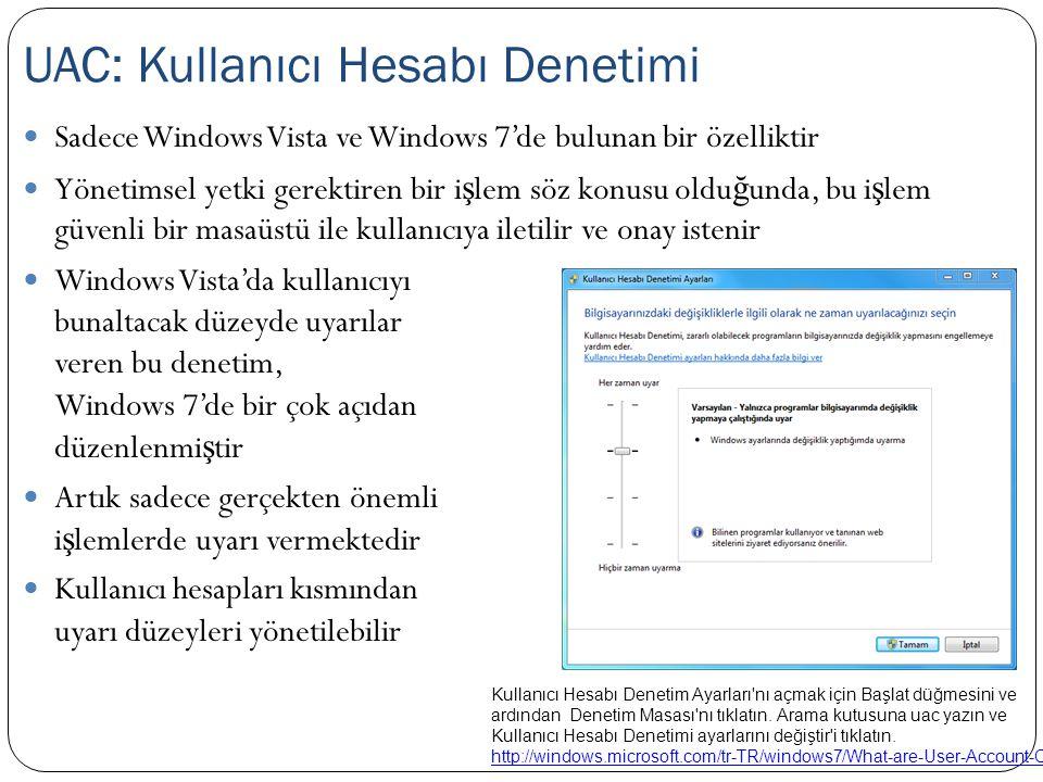 Sadece Windows Vista ve Windows 7'de bulunan bir özelliktir Yönetimsel yetki gerektiren bir i ş lem söz konusu oldu ğ unda, bu i ş lem güvenli bir mas