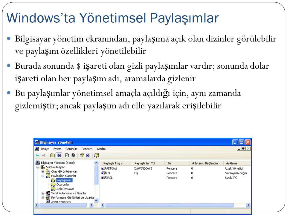 Bilgisayar yönetim ekranından, payla ş ıma açık olan dizinler görülebilir ve payla ş ım özellikleri yönetilebilir Burada sonunda $ i ş areti olan gizl