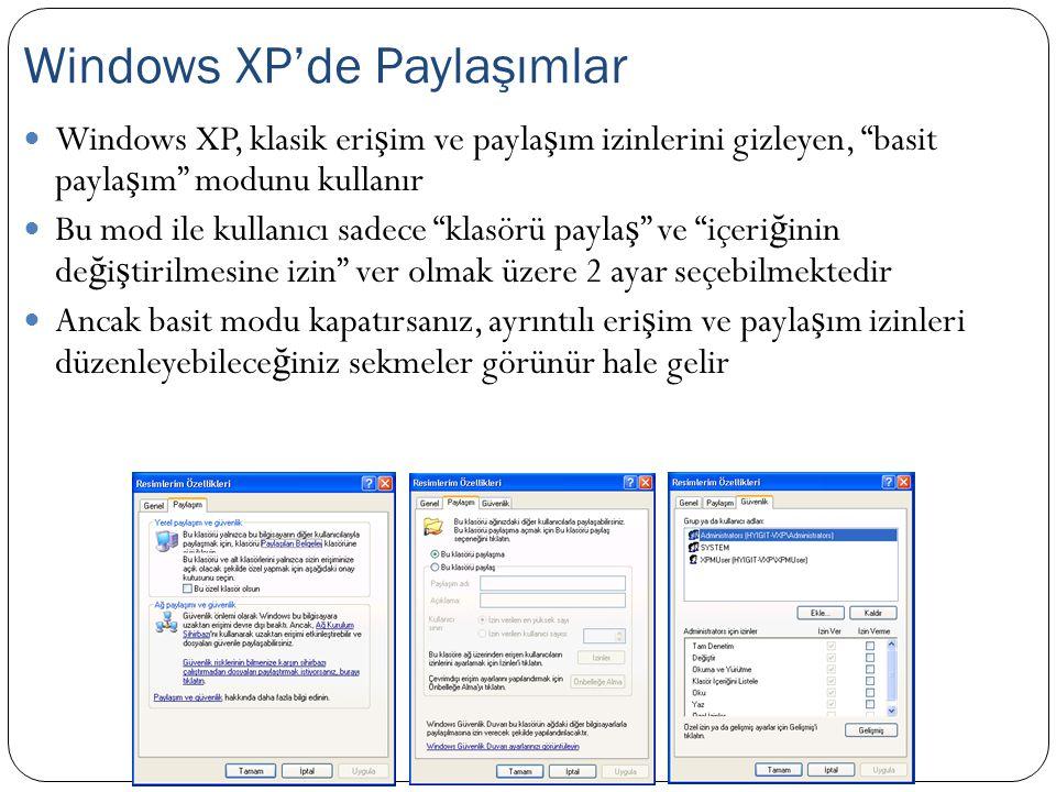 """Windows XP, klasik eri ş im ve payla ş ım izinlerini gizleyen, """"basit payla ş ım"""" modunu kullanır Bu mod ile kullanıcı sadece """"klasörü payla ş """" ve """"i"""