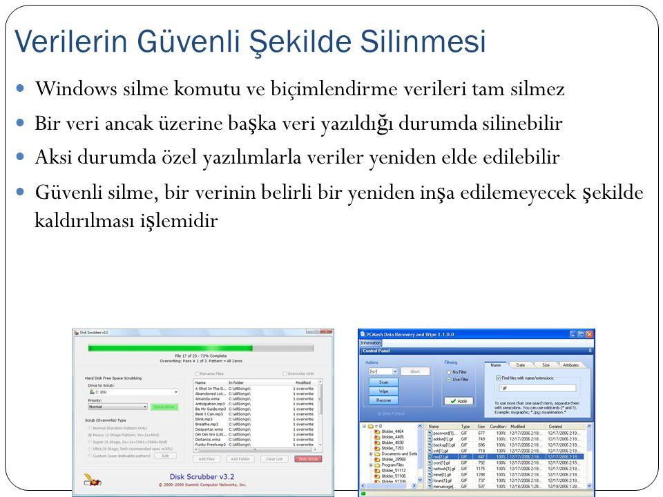 Windows silme komutu ve biçimlendirme verileri tam silmez Bir veri ancak üzerine ba ş ka veri yazıldı ğ ı durumda silinebilir Aksi durumda özel yazılı