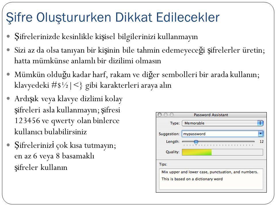 Ş ifreleme, verilerin bir algoritma ile, do ğ ru anahtara sahip olunmadı ğ ı sürece okunamaz hale getirilmi ş olmasıdır E ğ er ş ifreleme ve ş ifrelenmi ş veriyi okuma i ş lemleri aynı anahtar ile gerçekle ş iyor ise simetrik ş ifreleme yapılmı ş tır EFS, BitLocker, WEP, WPA, Kerberos, AES, 3DES E ğ er verinin ş ifrelenmesi için ortak, verinin okunması için ise özel olarak 2 anahtar var ise, asimetrik ş ifreleme yapılmı ş tır RSA, ECC Asimetrik anahtar kullanımı daha güvenli, ancak karma ş ıktır.