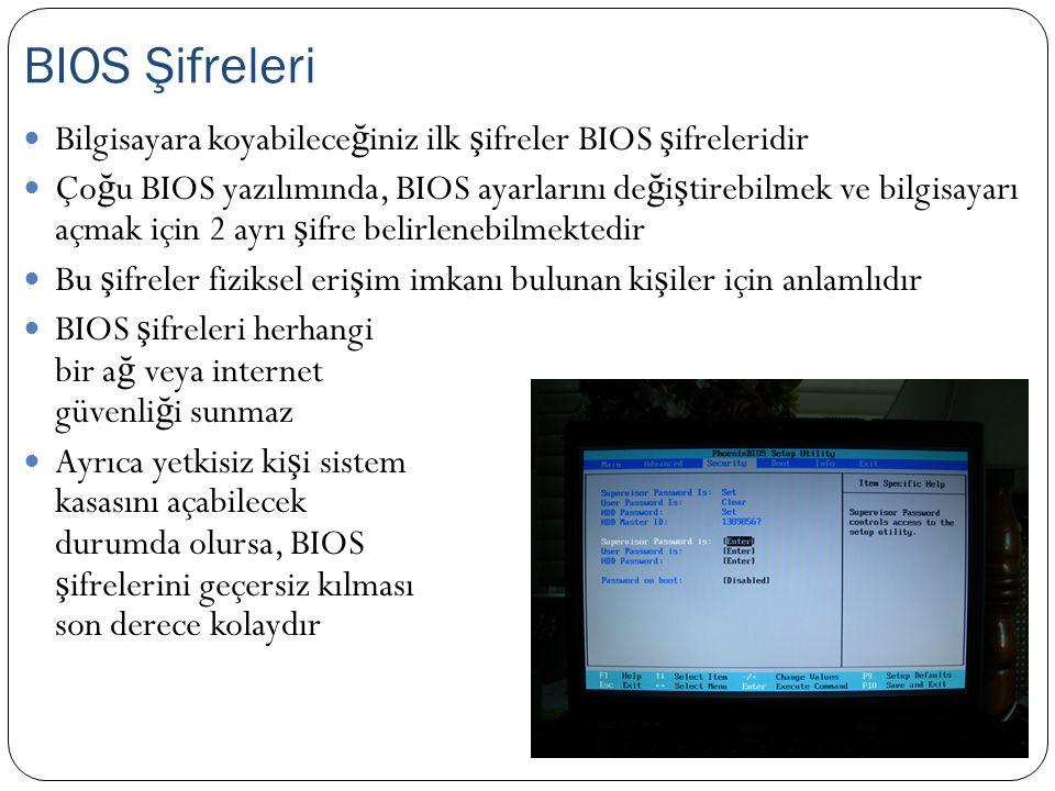 Özellikle ta ş ınabilir bilgisayarlarda kullanılan bir sistemdir Etkinle ş tirilirse, bilgisayarın önyüklemesi sırasında kullanıcının hard disk için ş ifre girmesi istenir Yanlı ş ş ifre girilirse sürücü kilitlenir ve önyükleme yapılamaz E ğ er varsa bu özellik BIOS üzerinden yapılandırılır DriveLock Denetimi Şifresi