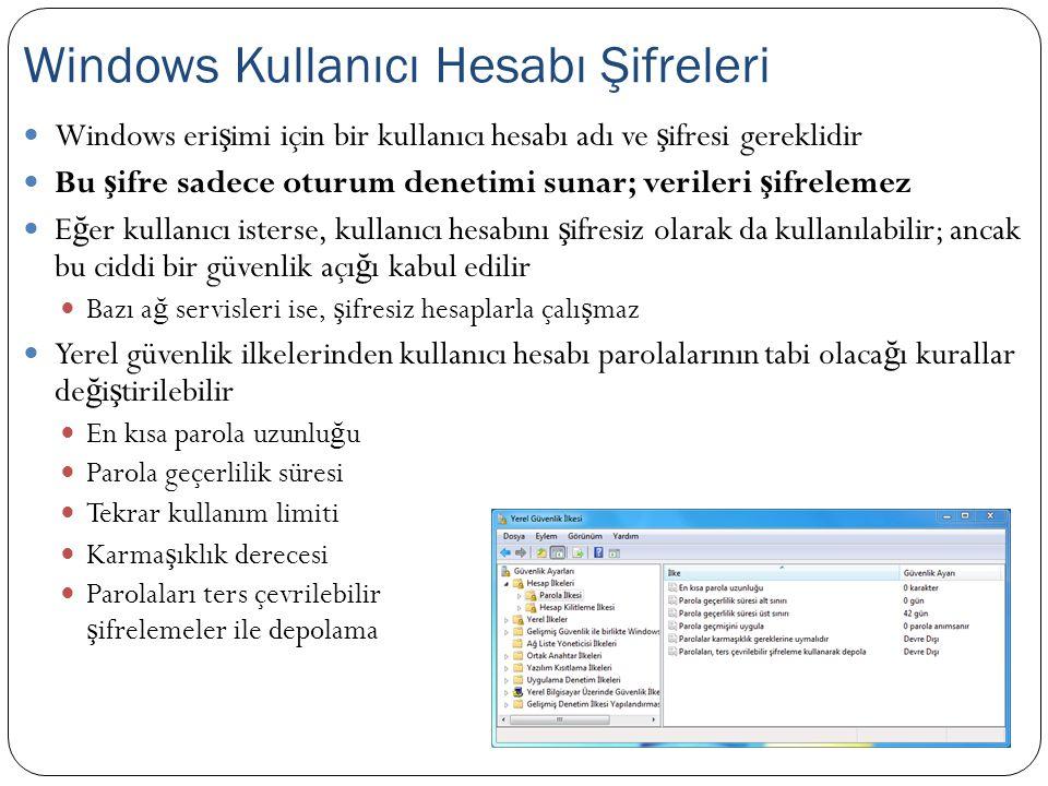 Windows kullanıcı hesaplarının ş ifrelenmesi sadece oturum denetimi sunar; sabit disk üzerinde bulunan verileri ş ifrelemez Windows hesabına ş ifre koysanız dahi, sabit diskiniz ba ş ka bir PC'ye takıldı ğ ında bu ş ifre bir anlam ifade etmeyecektir Ayrıca bilgisayarı CD sürücüsünden ba ş latma imkanı olan bir ki ş i, özel bir yazılım ile Windows kullanıcı hesabı ş ifresinin üzerine yazabilir, ş ifreyi silebilir veya yedekleyebilir Ş ifrenin ne oldu ğ unu ise ö ğ renemez Bu yazılım aracını ş ifresi kaybolmu ş sistemlerde kurtarma amaçlı olarak kullanabilirsiniz Windows Şifrelerinin Sınırları