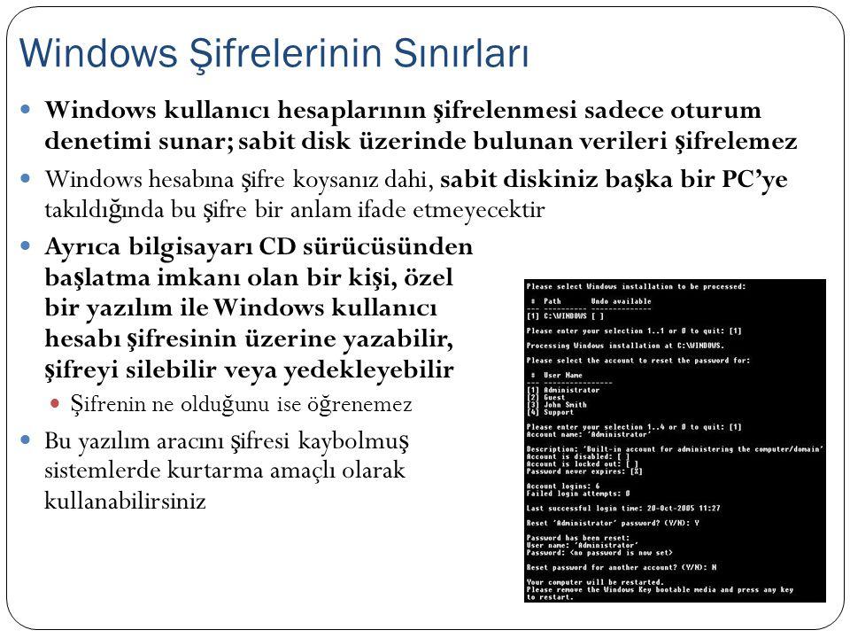 Windows kullanıcı hesaplarının ş ifrelenmesi sadece oturum denetimi sunar; sabit disk üzerinde bulunan verileri ş ifrelemez Windows hesabına ş ifre ko