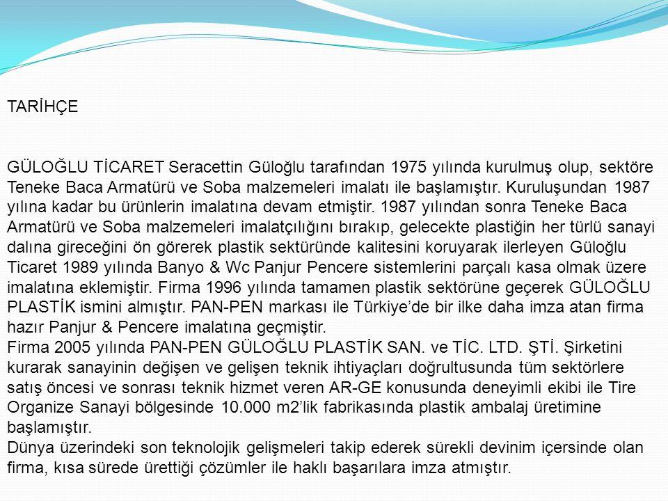 TARİHÇE GÜLOĞLU TİCARET Seracettin Güloğlu tarafından 1975 yılında kurulmuş olup, sektöre Teneke Baca Armatürü ve Soba malzemeleri imalatı ile başlamı