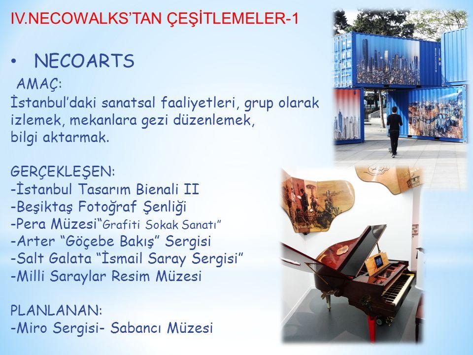 IV.NECOWALKS'TAN ÇEŞİTLEMELER-1 NECOARTS AMAÇ: İstanbul'daki sanatsal faaliyetleri, grup olarak izlemek, mekanlara gezi düzenlemek, bilgi aktarmak.
