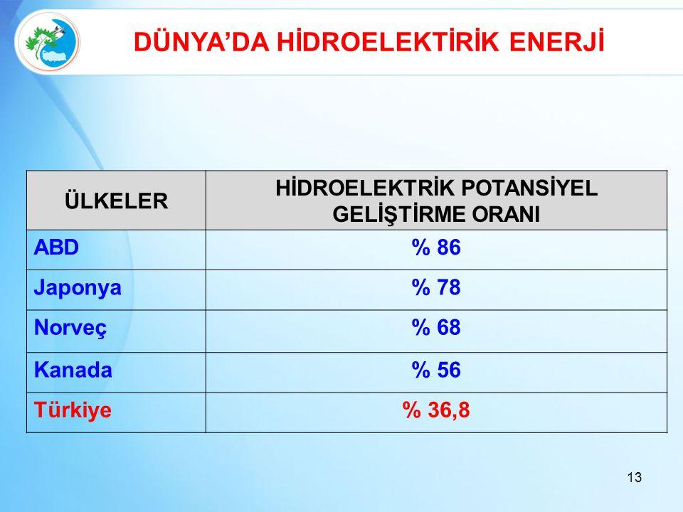 13 DÜNYA'DA HİDROELEKTİRİK ENERJİ ÜLKELER HİDROELEKTRİK POTANSİYEL GELİŞTİRME ORANI ABD% 86 Japonya% 78 Norveç% 68 Kanada% 56 Türkiye% 36,8
