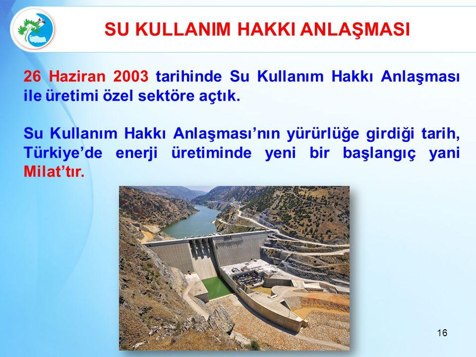 16 SU KULLANIM HAKKI ANLAŞMASI 26 Haziran 2003 tarihinde Su Kullanım Hakkı Anlaşması ile üretimi özel sektöre açtık. Su Kullanım Hakkı Anlaşması'nın y