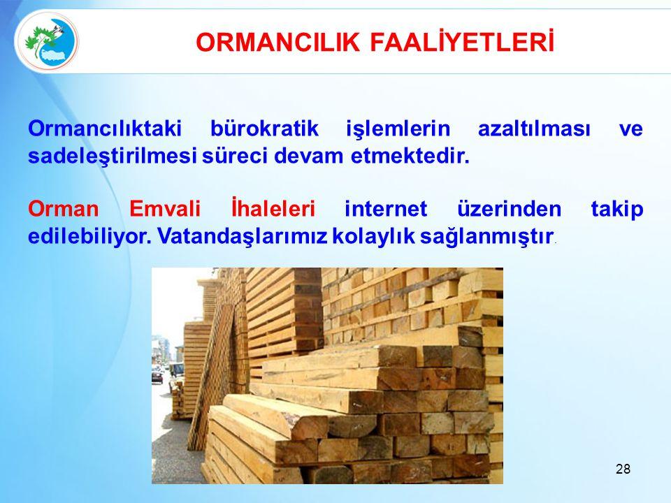 28 ORMANCILIK FAALİYETLERİ Ormancılıktaki bürokratik işlemlerin azaltılması ve sadeleştirilmesi süreci devam etmektedir. Orman Emvali İhaleleri intern