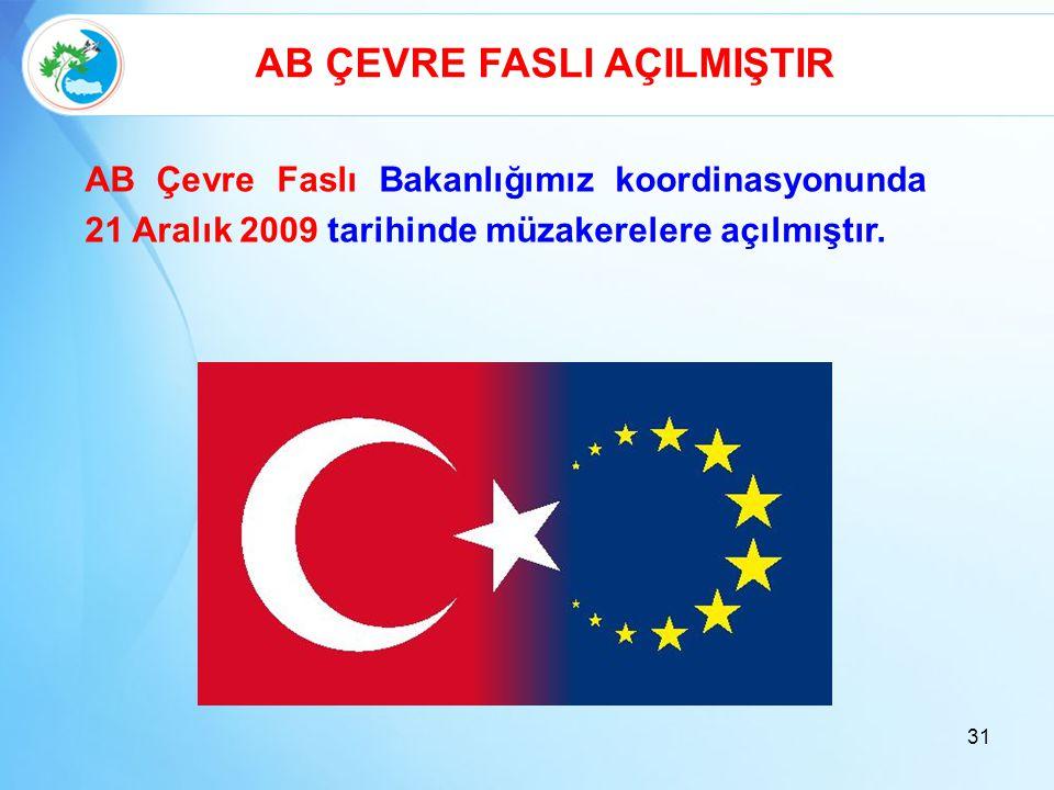 31 AB ÇEVRE FASLI AÇILMIŞTIR AB Çevre Faslı Bakanlığımız koordinasyonunda 21 Aralık 2009 tarihinde müzakerelere açılmıştır.