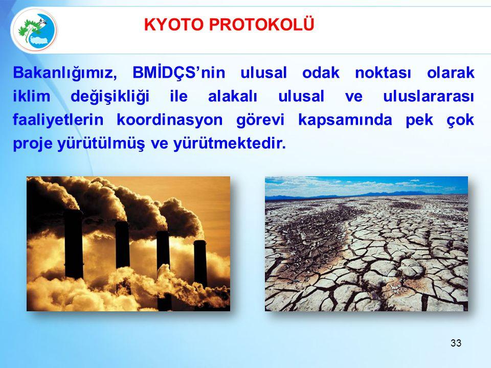 33 KYOTO PROTOKOLÜ Bakanlığımız, BMİDÇS'nin ulusal odak noktası olarak iklim değişikliği ile alakalı ulusal ve uluslararası faaliyetlerin koordinasyon