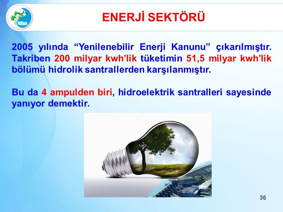 """36 ENERJİ SEKTÖRÜ 2005 yılında """"Yenilenebilir Enerji Kanunu"""" çıkarılmıştır. Takriben 200 milyar kwh'lik tüketimin 51,5 milyar kwh'lik bölümü hidrolik"""