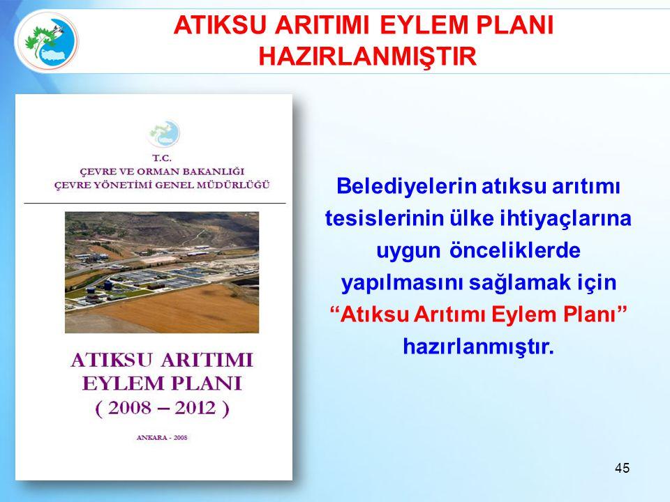 """Belediyelerin atıksu arıtımı tesislerinin ülke ihtiyaçlarına uygun önceliklerde yapılmasını sağlamak için """"Atıksu Arıtımı Eylem Planı"""" hazırlanmıştır."""