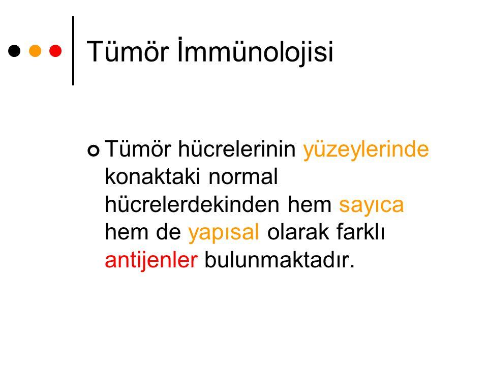 Tümör İmmünolojisi Tümör hücrelerinin yüzeylerinde konaktaki normal hücrelerdekinden hem sayıca hem de yapısal olarak farklı antijenler bulunmaktadır.