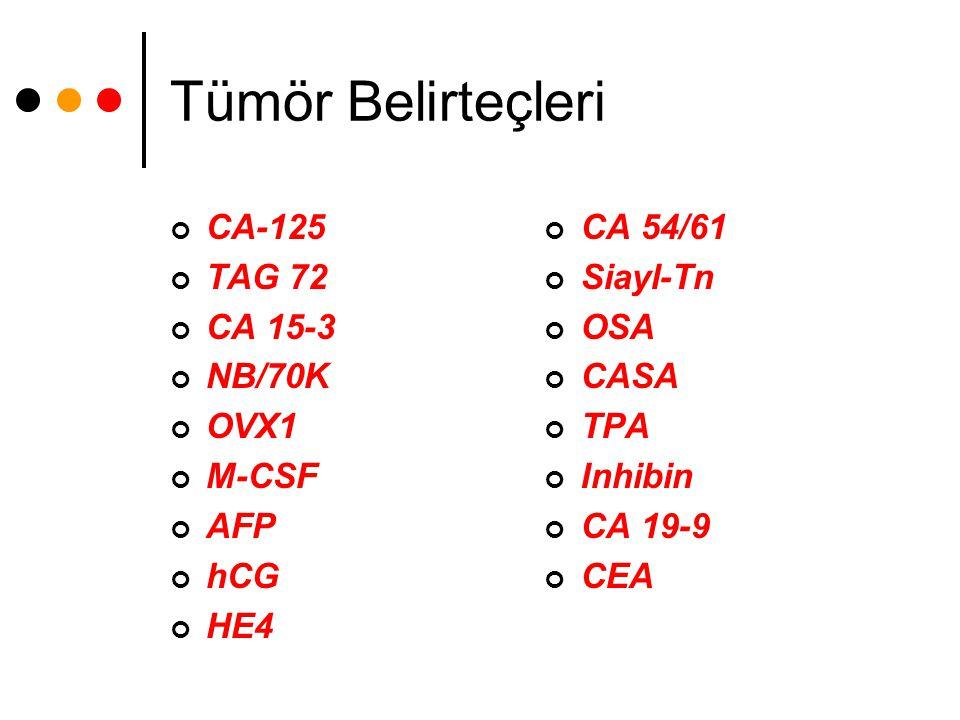 Tümör Belirteçleri CA-125 TAG 72 CA 15-3 NB/70K OVX1 M-CSF AFP hCG HE4 CA 54/61 Siayl-Tn OSA CASA TPA Inhibin CA 19-9 CEA