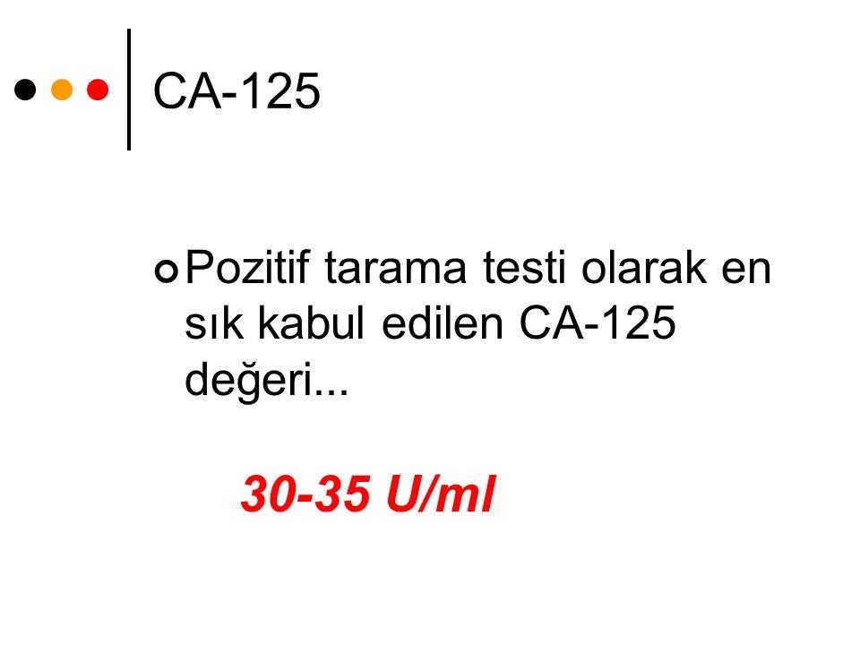 CA-125 Pozitif tarama testi olarak en sık kabul edilen CA-125 değeri... 30-35 U/ml