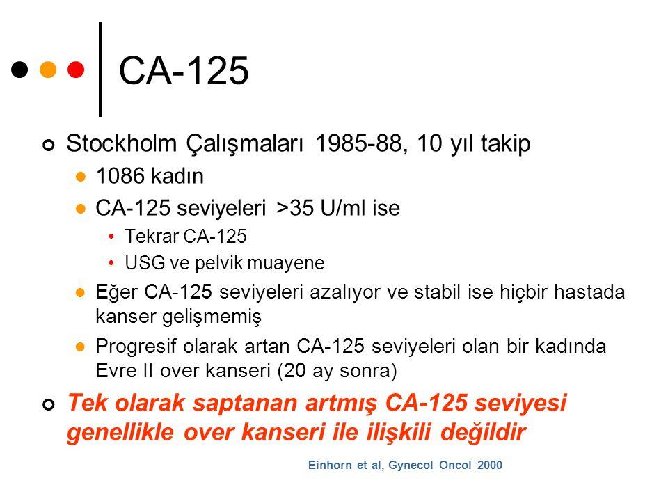 CA-125 Stockholm Çalışmaları 1985-88, 10 yıl takip 1086 kadın CA-125 seviyeleri >35 U/ml ise Tekrar CA-125 USG ve pelvik muayene Eğer CA-125 seviyeler