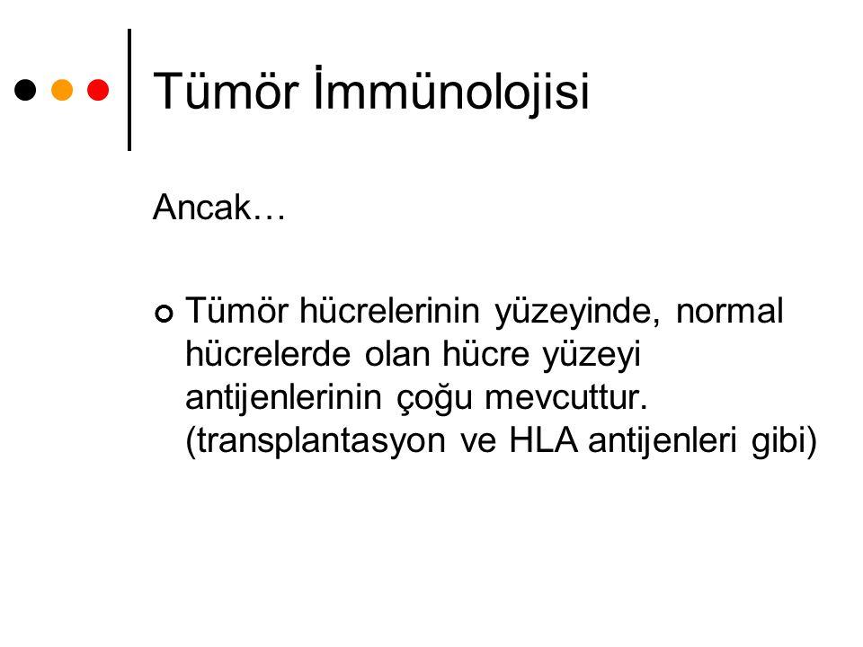 Tümör İmmünolojisi Ancak… Tümör hücrelerinin yüzeyinde, normal hücrelerde olan hücre yüzeyi antijenlerinin çoğu mevcuttur. (transplantasyon ve HLA ant