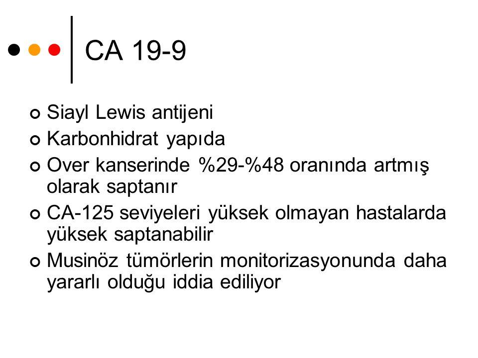 CA 19-9 Siayl Lewis antijeni Karbonhidrat yapıda Over kanserinde %29-%48 oranında artmış olarak saptanır CA-125 seviyeleri yüksek olmayan hastalarda y