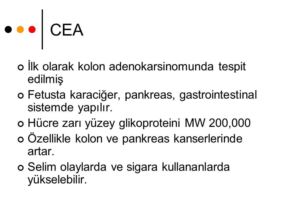 CEA İlk olarak kolon adenokarsinomunda tespit edilmiş Fetusta karaciğer, pankreas, gastrointestinal sistemde yapılır. Hücre zarı yüzey glikoproteini M