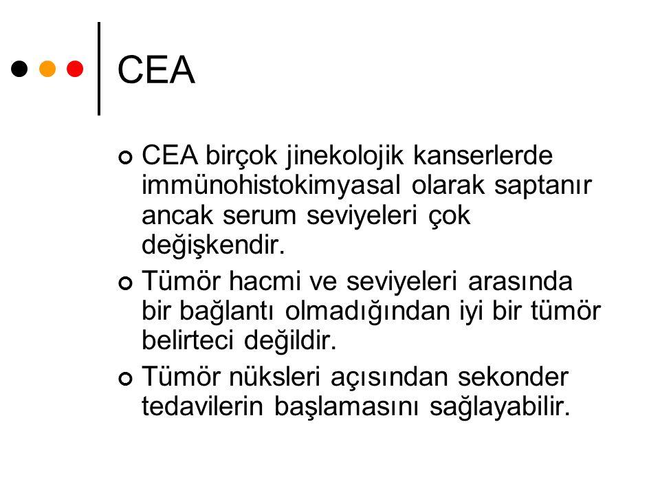 CEA CEA birçok jinekolojik kanserlerde immünohistokimyasal olarak saptanır ancak serum seviyeleri çok değişkendir. Tümör hacmi ve seviyeleri arasında