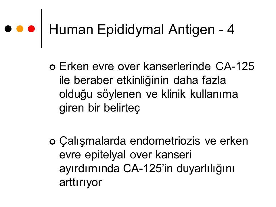 Human Epididymal Antigen - 4 Erken evre over kanserlerinde CA-125 ile beraber etkinliğinin daha fazla olduğu söylenen ve klinik kullanıma giren bir be