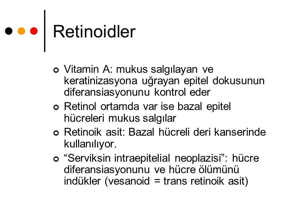 Retinoidler Vitamin A: mukus salgılayan ve keratinizasyona uğrayan epitel dokusunun diferansiasyonunu kontrol eder Retinol ortamda var ise bazal epite