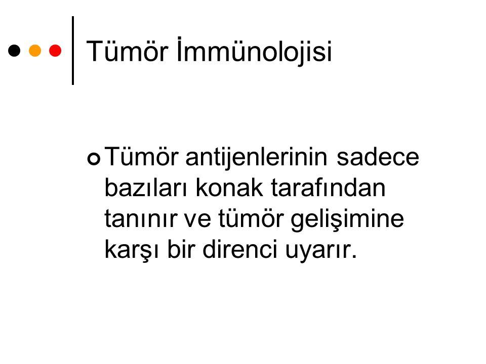 Tümör İmmünolojisi Tümör antijenlerinin sadece bazıları konak tarafından tanınır ve tümör gelişimine karşı bir direnci uyarır.