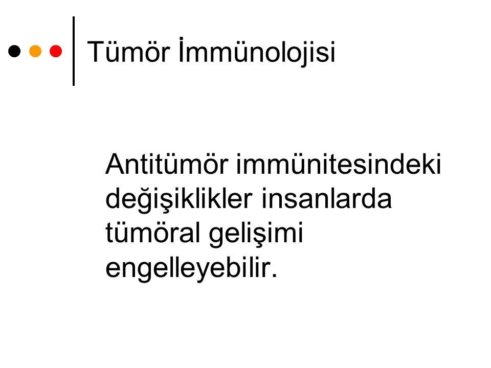 Tümör İmmünolojisi Antitümör immünitesindeki değişiklikler insanlarda tümöral gelişimi engelleyebilir.