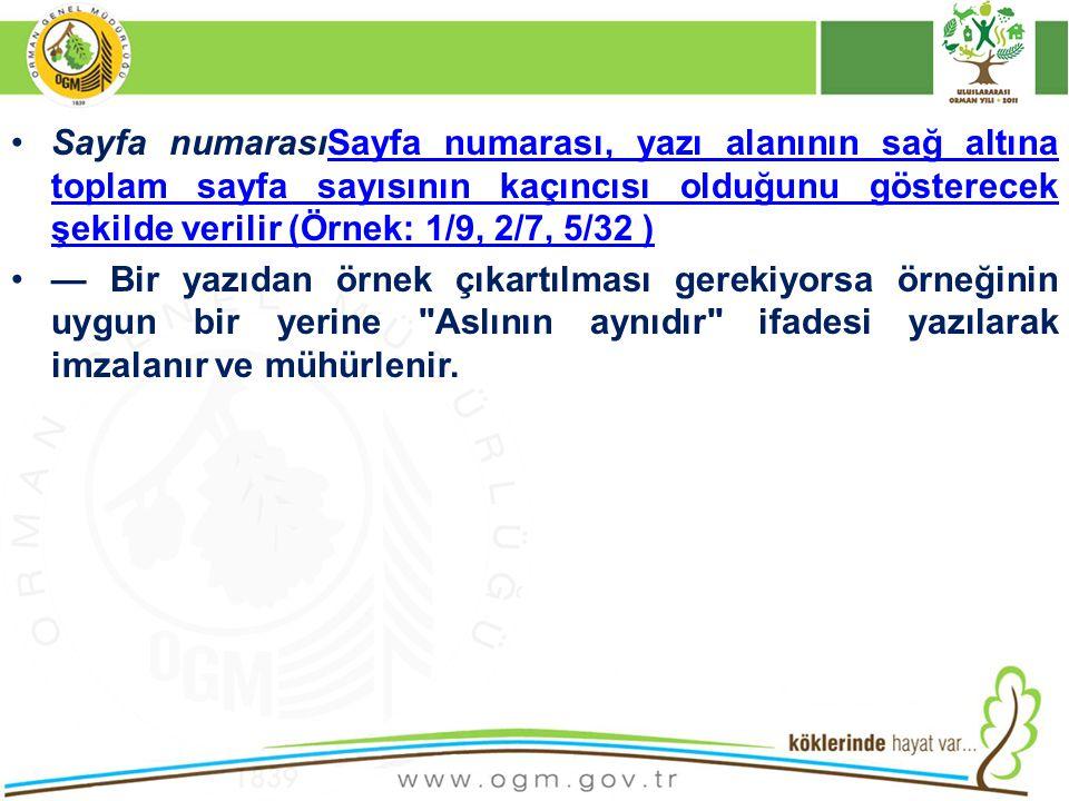 Sayfa numarasıSayfa numarası, yazı alanının sağ altına toplam sayfa sayısının kaçıncısı olduğunu gösterecek şekilde verilir (Örnek: 1/9, 2/7, 5/32 )Sa