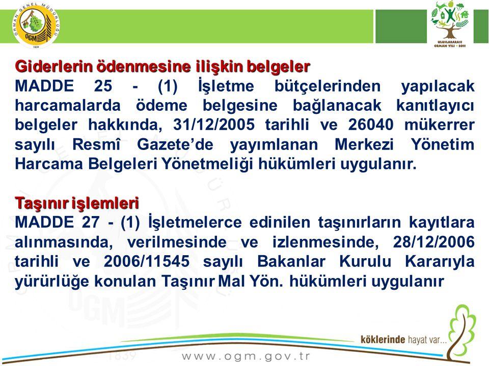Giderlerin ödenmesine ilişkin belgeler MADDE 25 - (1) İşletme bütçelerinden yapılacak harcamalarda ödeme belgesine bağlanacak kanıtlayıcı belgeler hak