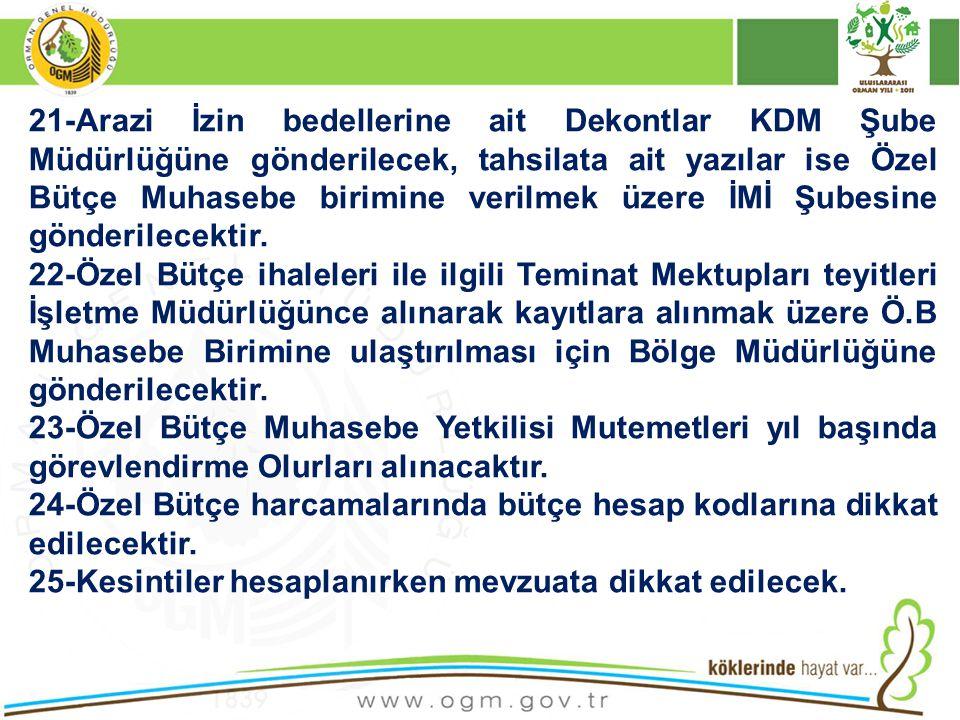 21-Arazi İzin bedellerine ait Dekontlar KDM Şube Müdürlüğüne gönderilecek, tahsilata ait yazılar ise Özel Bütçe Muhasebe birimine verilmek üzere İMİ Ş