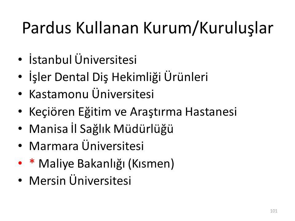 Pardus Kullanan Kurum/Kuruluşlar İstanbul Üniversitesi İşler Dental Diş Hekimliği Ürünleri Kastamonu Üniversitesi Keçiören Eğitim ve Araştırma Hastane