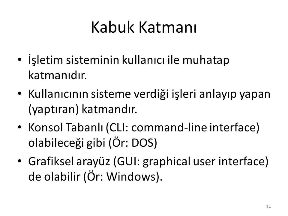 Kabuk Katmanı İşletim sisteminin kullanıcı ile muhatap katmanıdır. Kullanıcının sisteme verdiği işleri anlayıp yapan (yaptıran) katmandır. Konsol Taba