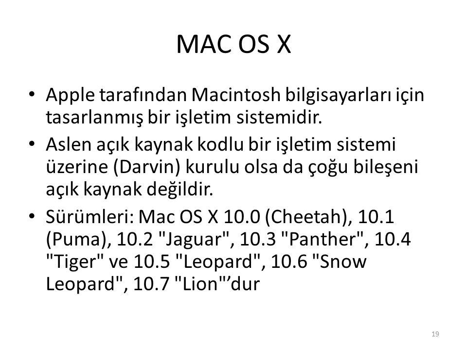 MAC OS X Apple tarafından Macintosh bilgisayarları için tasarlanmış bir işletim sistemidir. Aslen açık kaynak kodlu bir işletim sistemi üzerine (Darvi