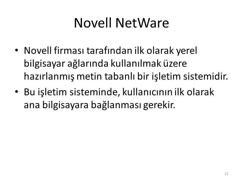 Novell NetWare Novell firması tarafından ilk olarak yerel bilgisayar ağlarında kullanılmak üzere hazırlanmış metin tabanlı bir işletim sistemidir. Bu