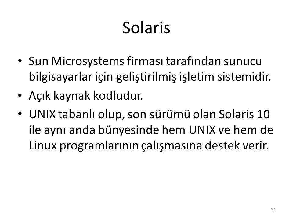 Solaris Sun Microsystems firması tarafından sunucu bilgisayarlar için geliştirilmiş işletim sistemidir. Açık kaynak kodludur. UNIX tabanlı olup, son s