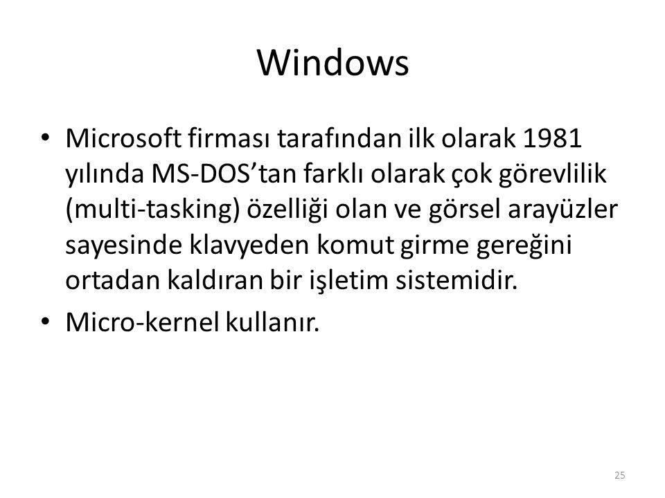 Windows Microsoft firması tarafından ilk olarak 1981 yılında MS-DOS'tan farklı olarak çok görevlilik (multi-tasking) özelliği olan ve görsel arayüzler